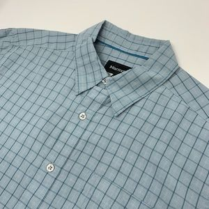 Marmot Short Sleeve Button Front Blue Plaid Shirt